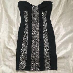 black sequin panel dress